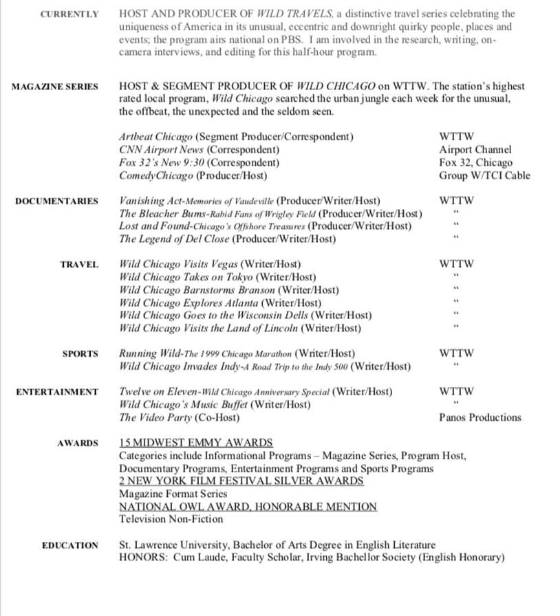 Tv Host Resume